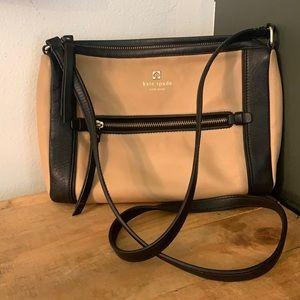 [Kate Spade] Tan/Black Leather Crossbody Purse